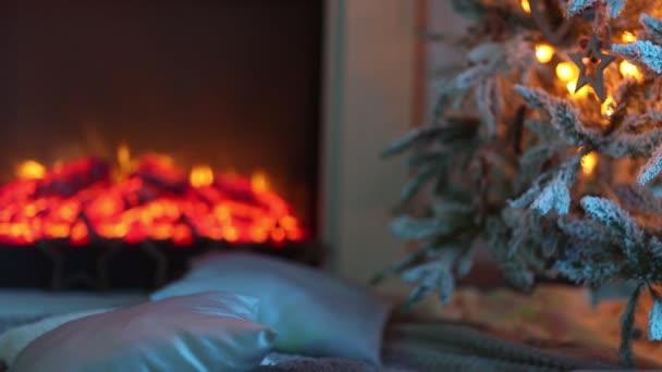 Vánoční dovolená pozadí s vánoční stromky a ozdoby na dřevěný stůl. Černé, zlaté a stříbrné ozdoby