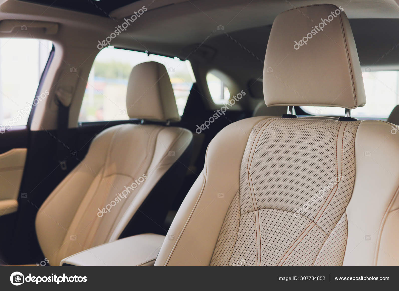 Car Inside Driver Place Interior Of Prestige Modern Car Front Seats With Steering Wheel Dashboard Beige Cockpit With Metal Decoration Panoramic Roof On Isolated White Background Stock Photo C Vershinin Photo 307734852