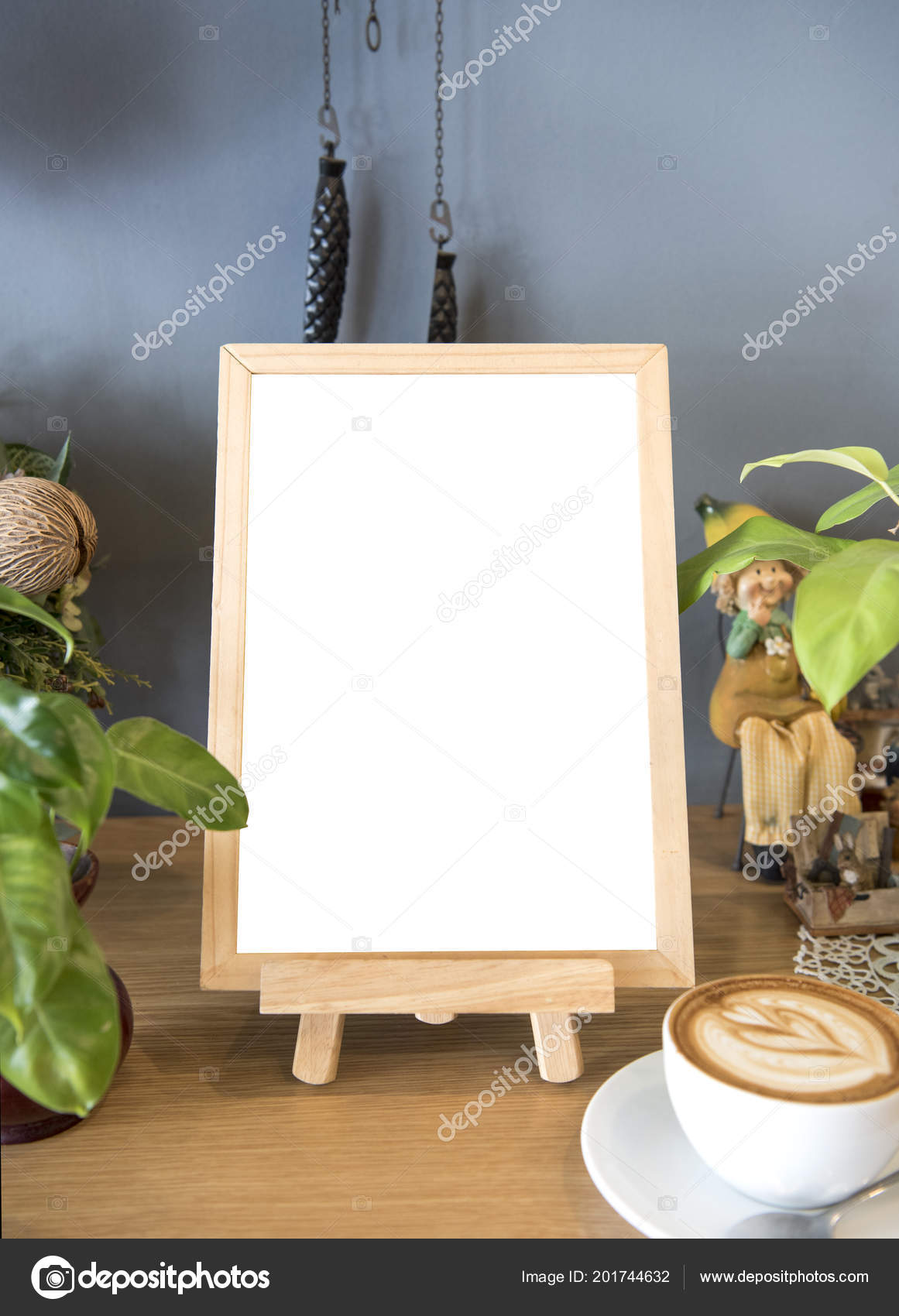 Blank White Menu Frame Wooden Cafe Shop Design Mockup Template - Menu mockup template