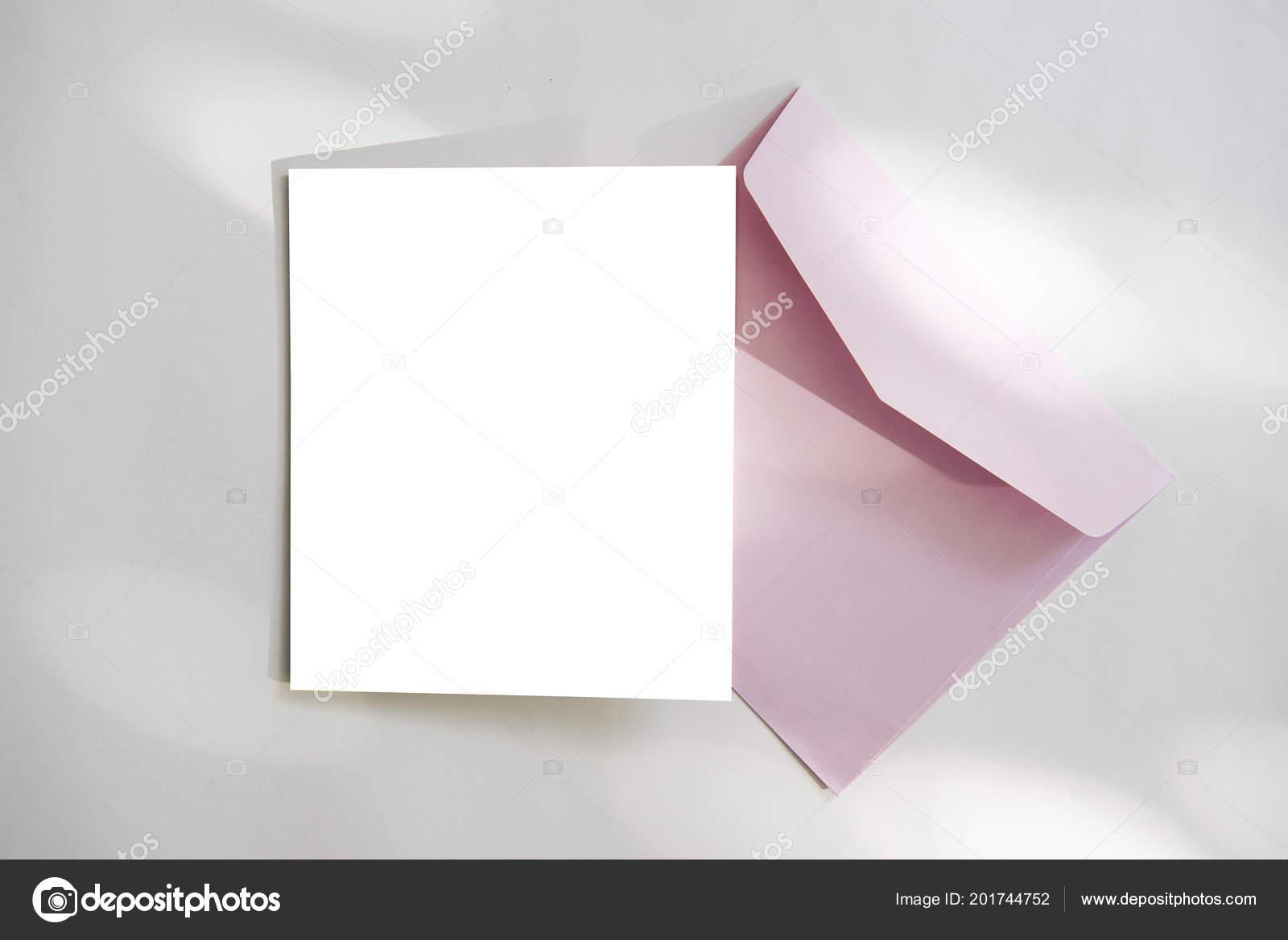 Blank White Greeting Card Envelope Flower Mockup Template Stock