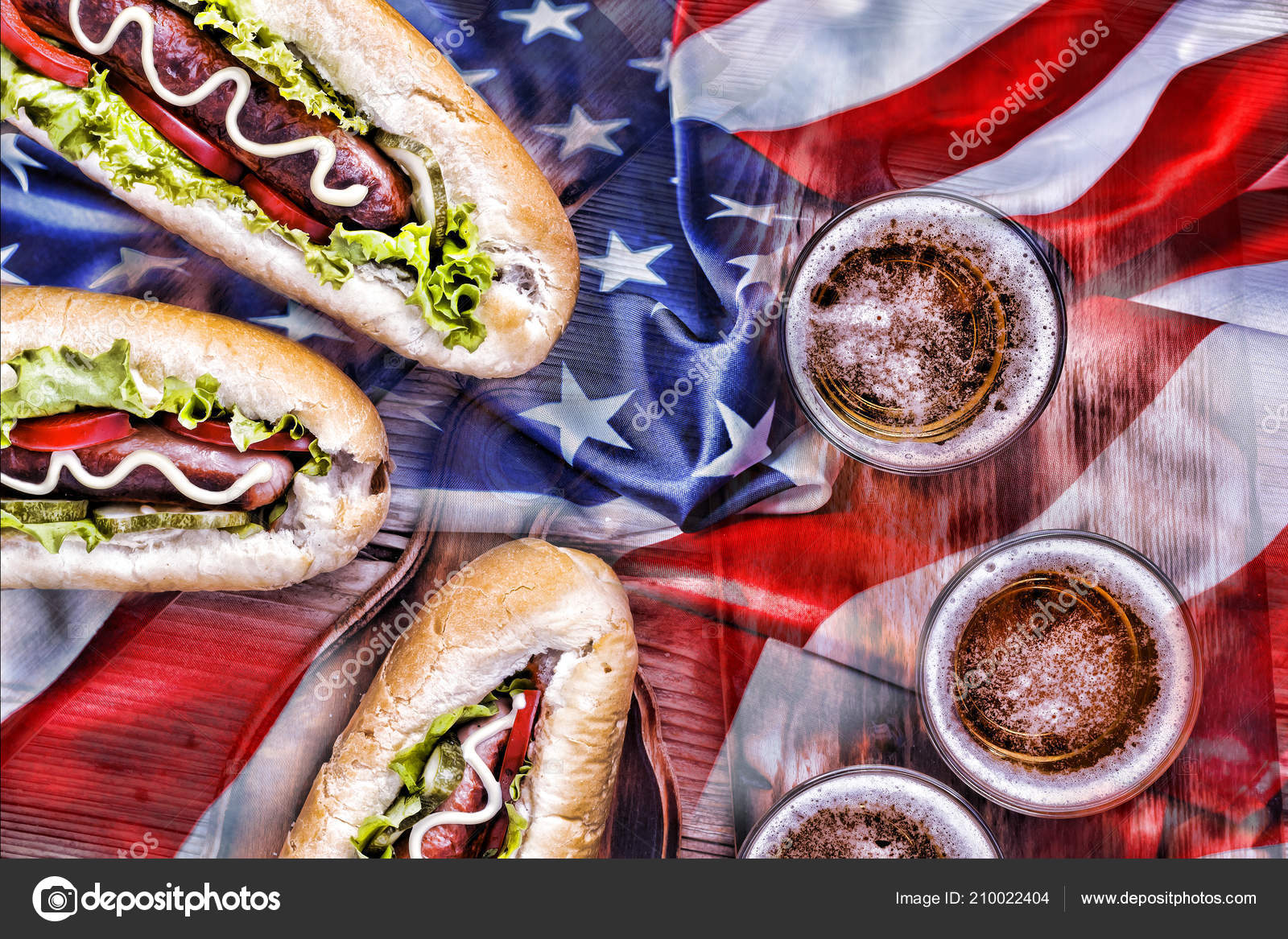 Picnic Memory Day Independence Day Labor Day Usa Beer Hot Stock