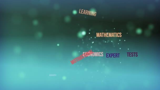 Oktatási szó felhő szöveg animáció stock footage