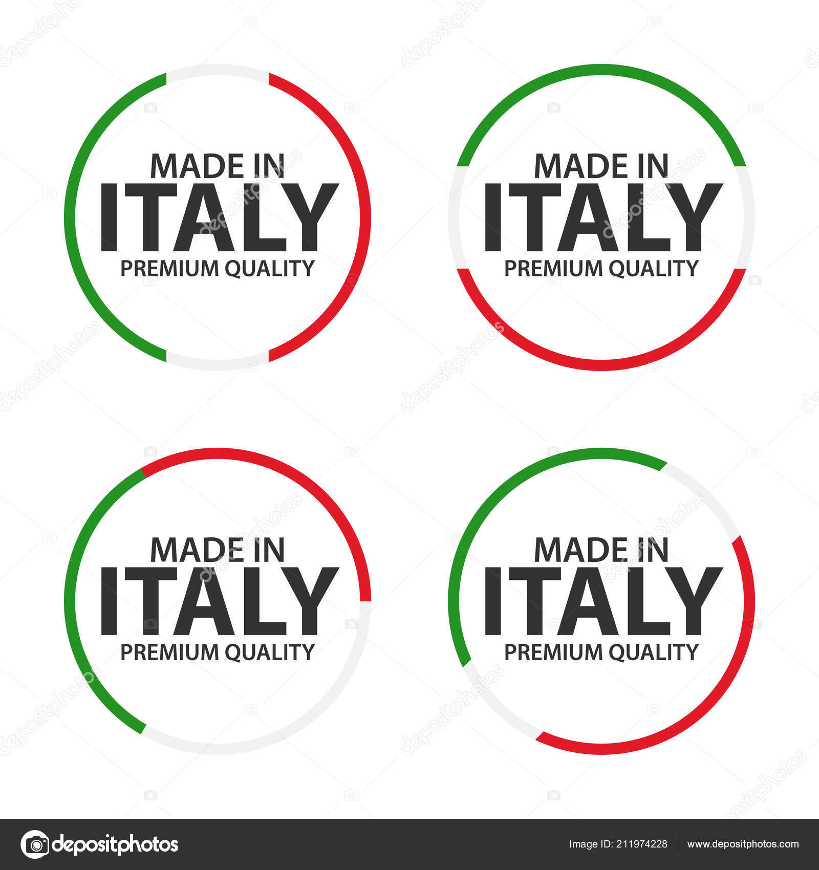 Set Four Italian Icons Made Italy Premium Quality Stickers Symbols