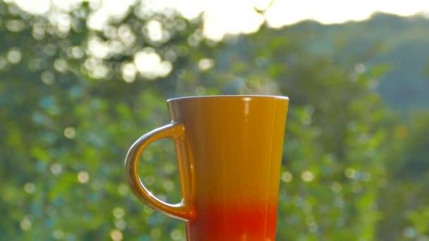 Finom teát inni, a természetben. Egy bögre forró tea, a naplemente. Van gőz fekete vagy zöld tea. Kezet fog egy csésze.