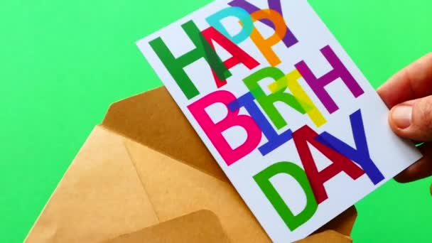 Happy Birthday Get A Card In An Envelope Greeting On Green Background Hold Stock Footage