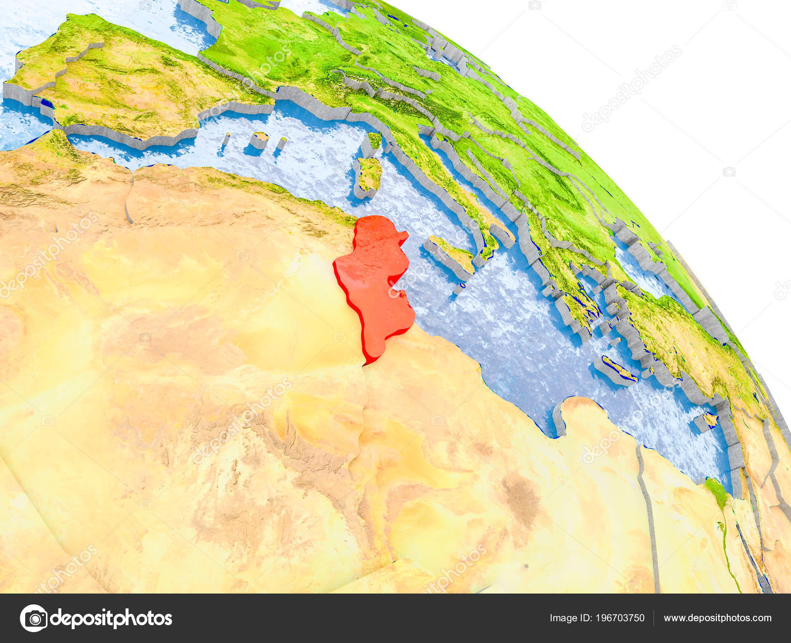 Picture of: Illustration Tunisia Highlighted Red Glob Realistic Surface Visible Country Borders Stock Photo C Tom Griger 196703750