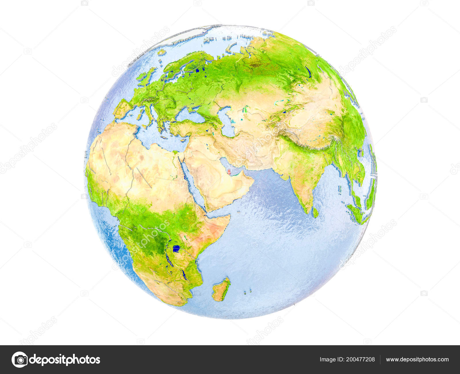 Qatar Highlighted Red Model Earth Illustration Isolated White