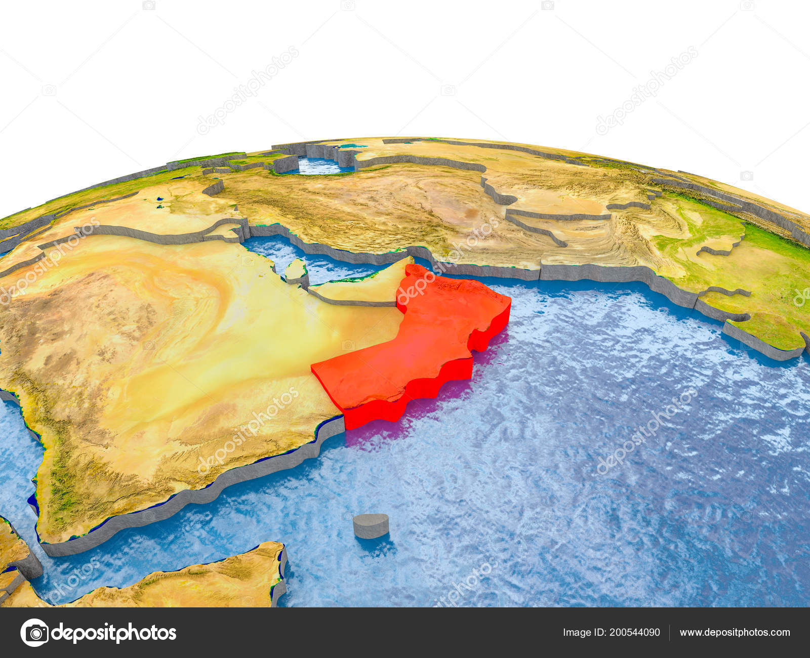Oman Highlighted Red Globe Realistic Land Surface Visible Country
