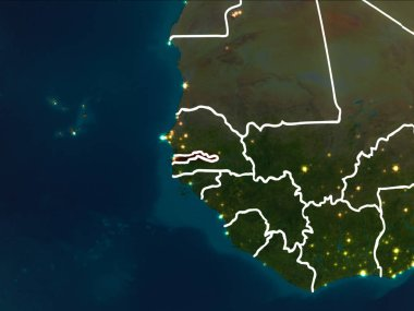 Gambia highlighted in red from Earth orbit at night with visible country borders. 3D illustration. Elements of this image furnished by NASA.