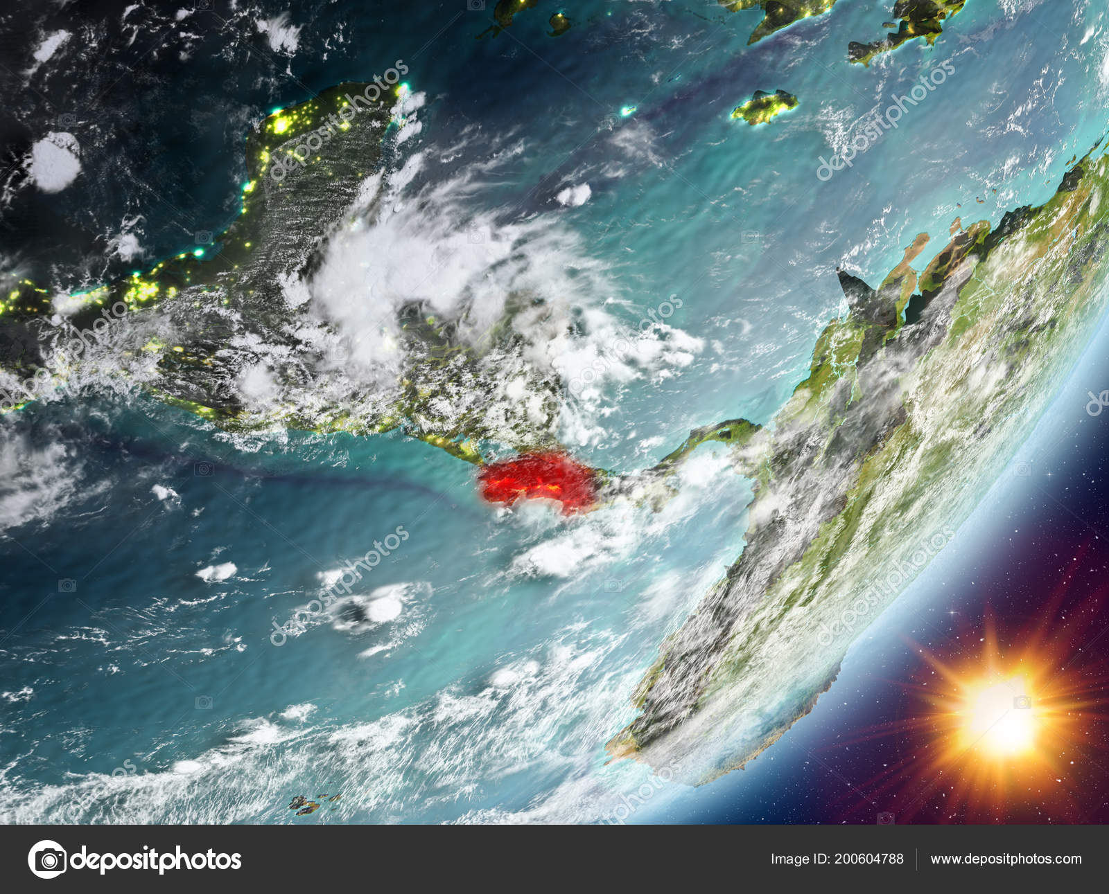 Costa Rica Orbit Planet Earth Sunrise Highly Detailed Surface