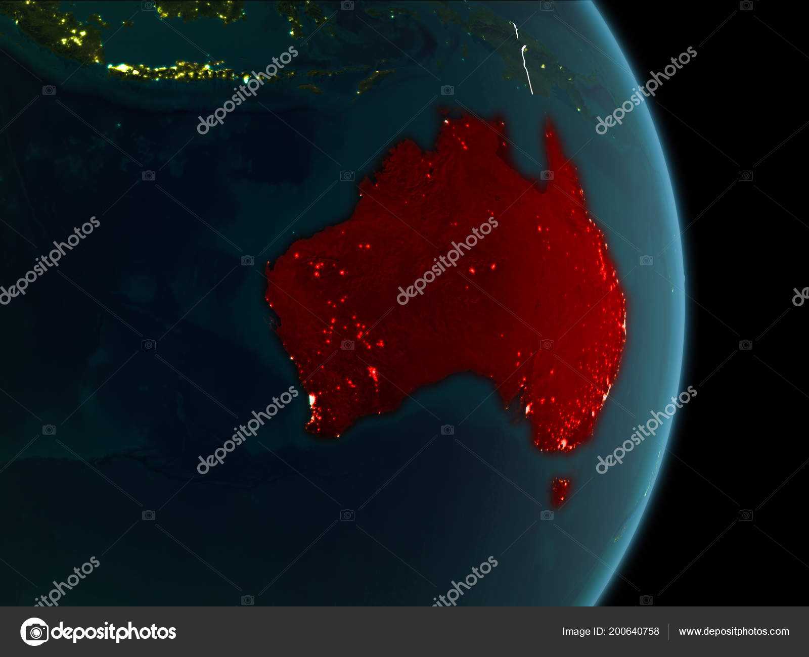 Map Of Australia From Space.Map Australia Red Seen Space Planet Earth Night White Borderlines