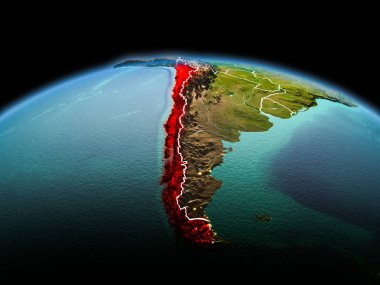 Morning above Chile highlighted in red on model of planet Earth in space with visible border lines and city lights. 3D illustration. Elements of this image furnished by NASA.