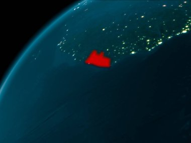 Night map of Liberia as seen from space on planet Earth. 3D illustration. Elements of this image furnished by NASA.