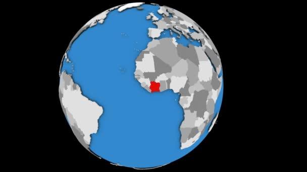 Ivory Coast on political globe