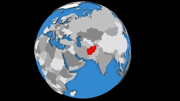 Afghanistan on political globe