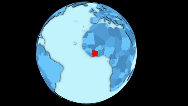 Ivory Coast on blue planet