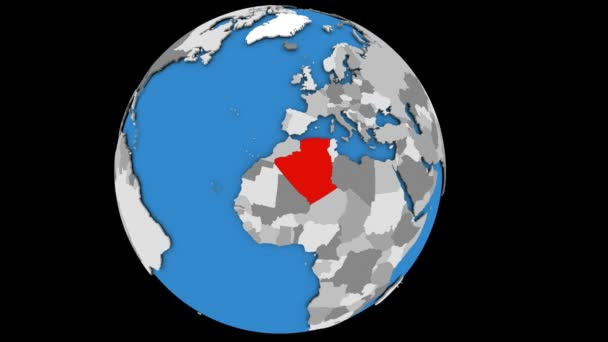 Zooming in on Algeria on political globe