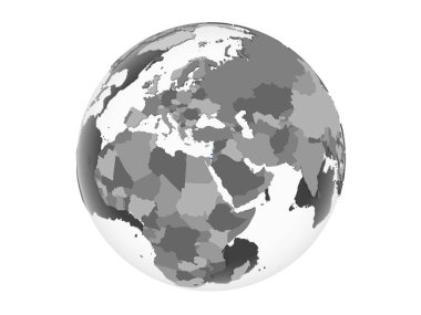 Israel on gray political globe with embedded flag. 3D illustration isolated on white background.