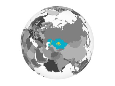 Kazakhstan on gray political globe with embedded flag. 3D illustration isolated on white background.