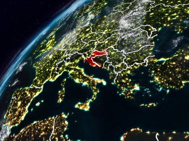 Croatia on planet Earth at night with visible country borders. 3D illustration. Elements of this image furnished by NASA.