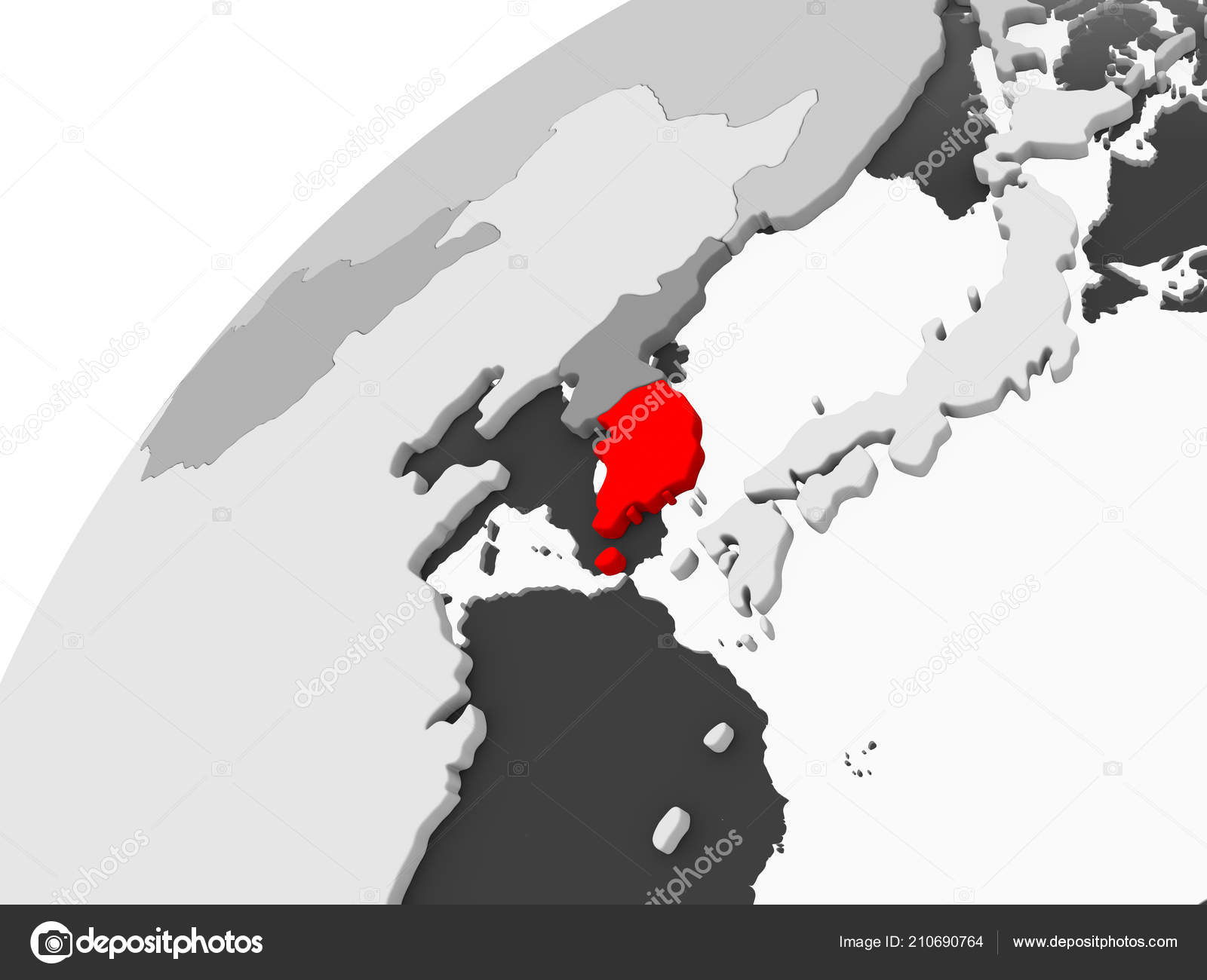 Map Of The World Transparent.Map South Korea Red Grey Political Globe Transparent Oceans