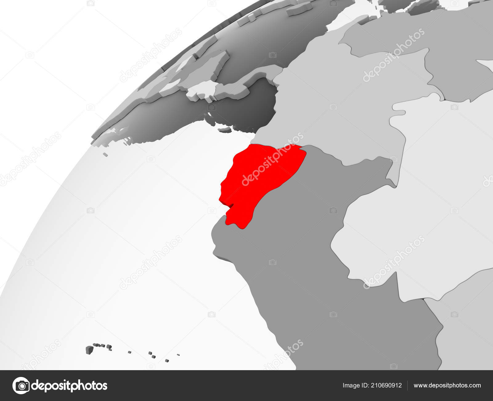 Map Ecuador Red Grey Political Globe Transparent Oceans Illustration