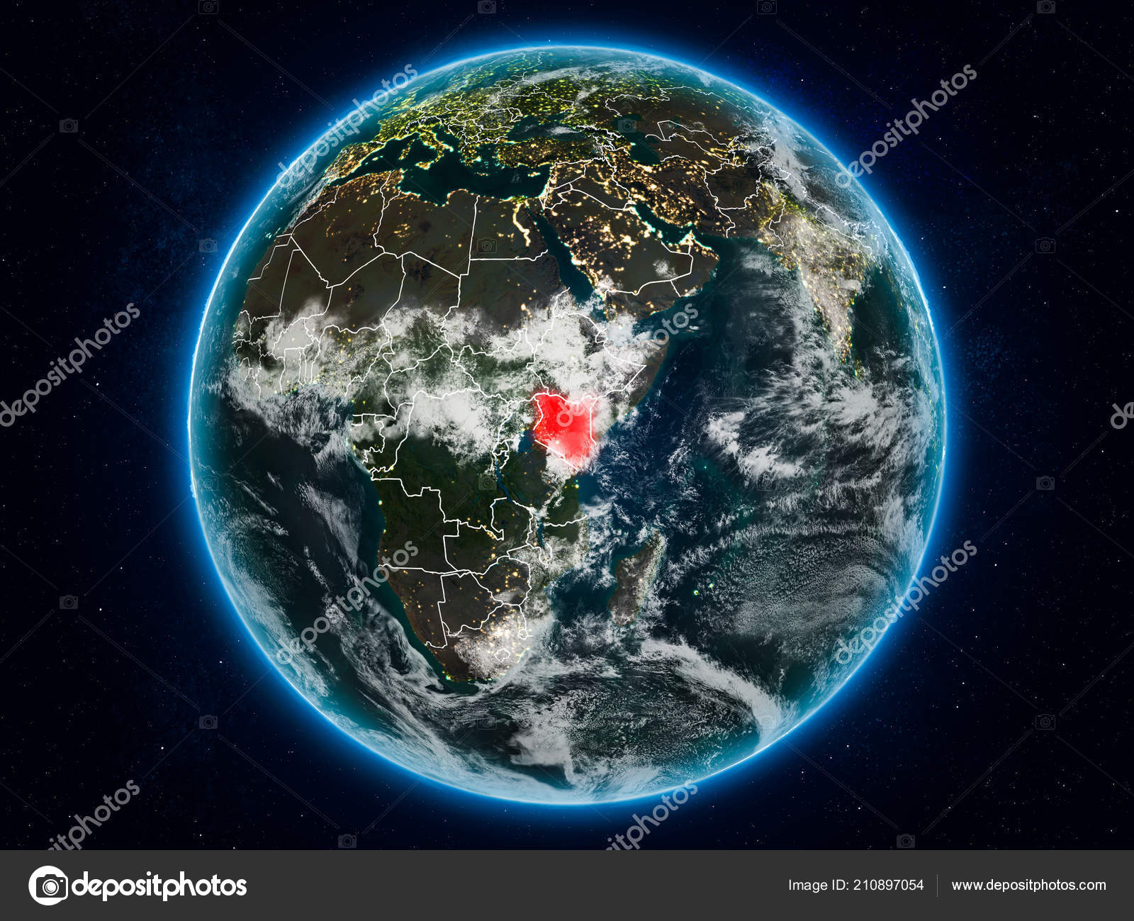 Kenya Space Planet Earth Night Visible Country Borders