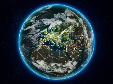 Kosovo from space on planet Earth at night with visible country borders. 3D illustration. Elements of this image furnished by NASA.