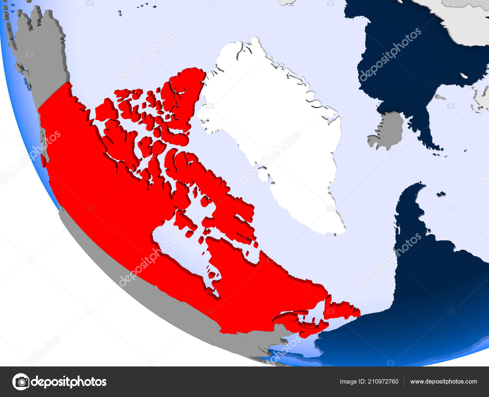 Map Of Canada Red.Map Canada Red Political Globe Transparent Oceans Illustration