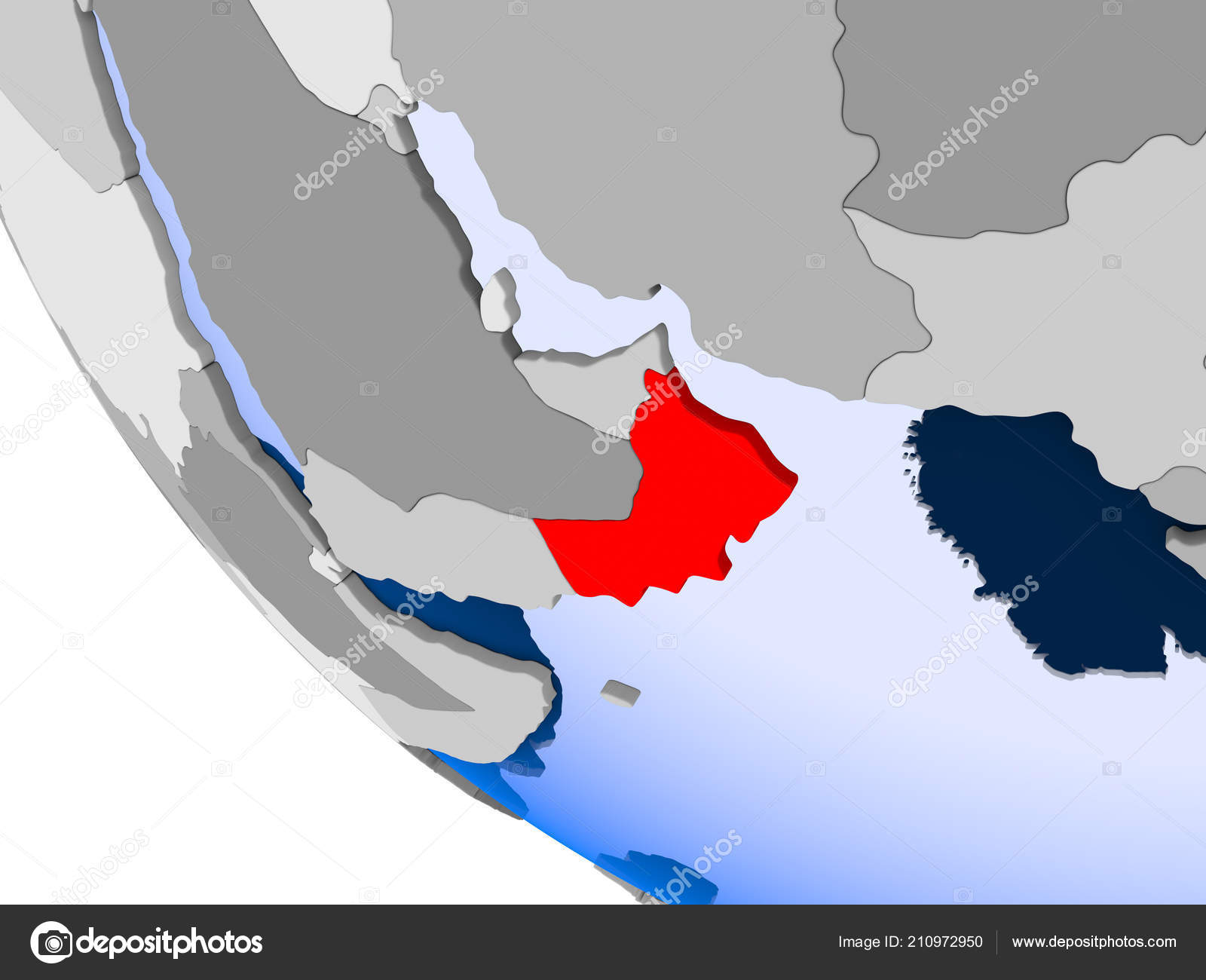 Map Oman Red Political Globe Transparent Oceans Illustration — Stock