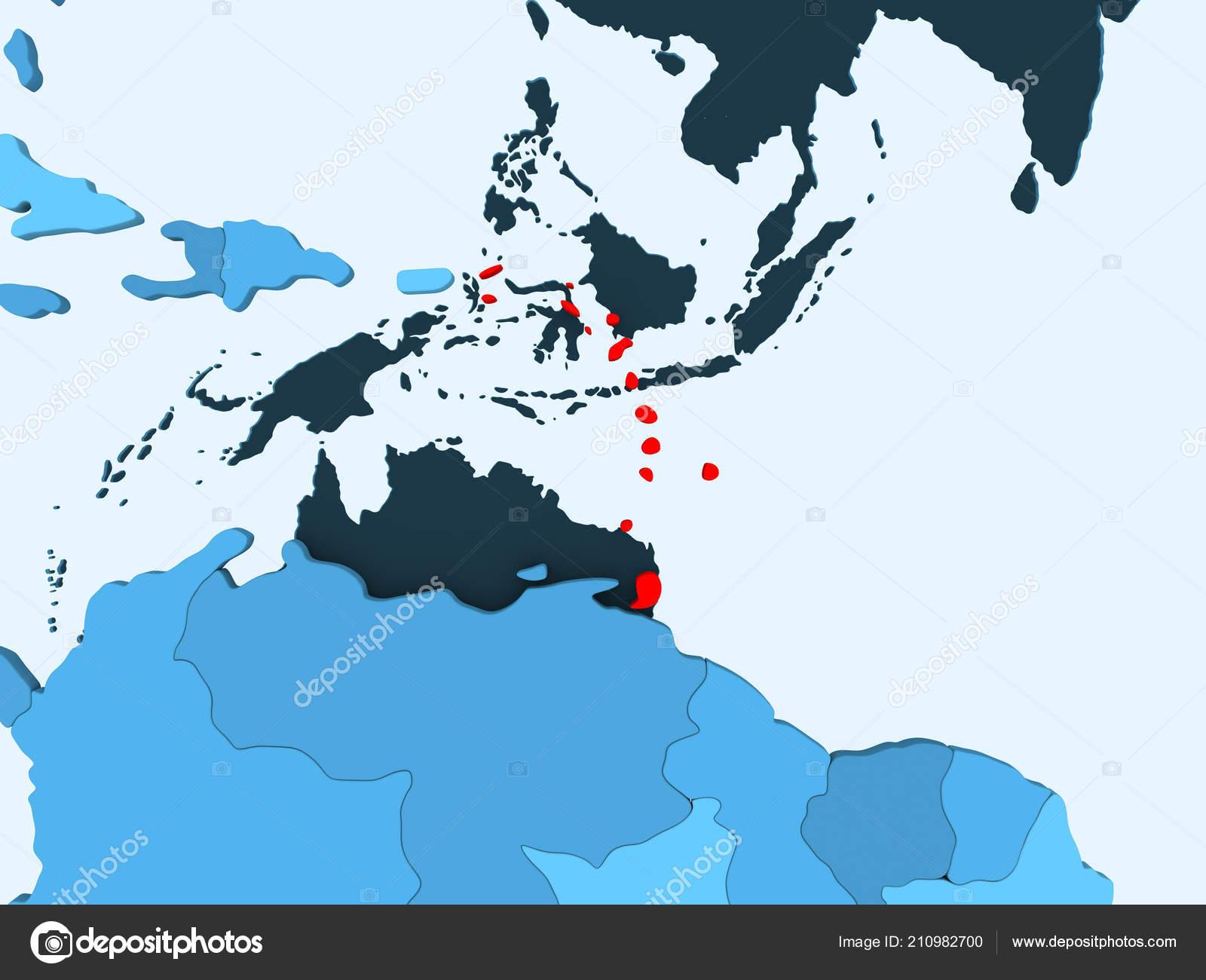 Caribbean Red Blue Political Map Transparent Oceans Illustration ...