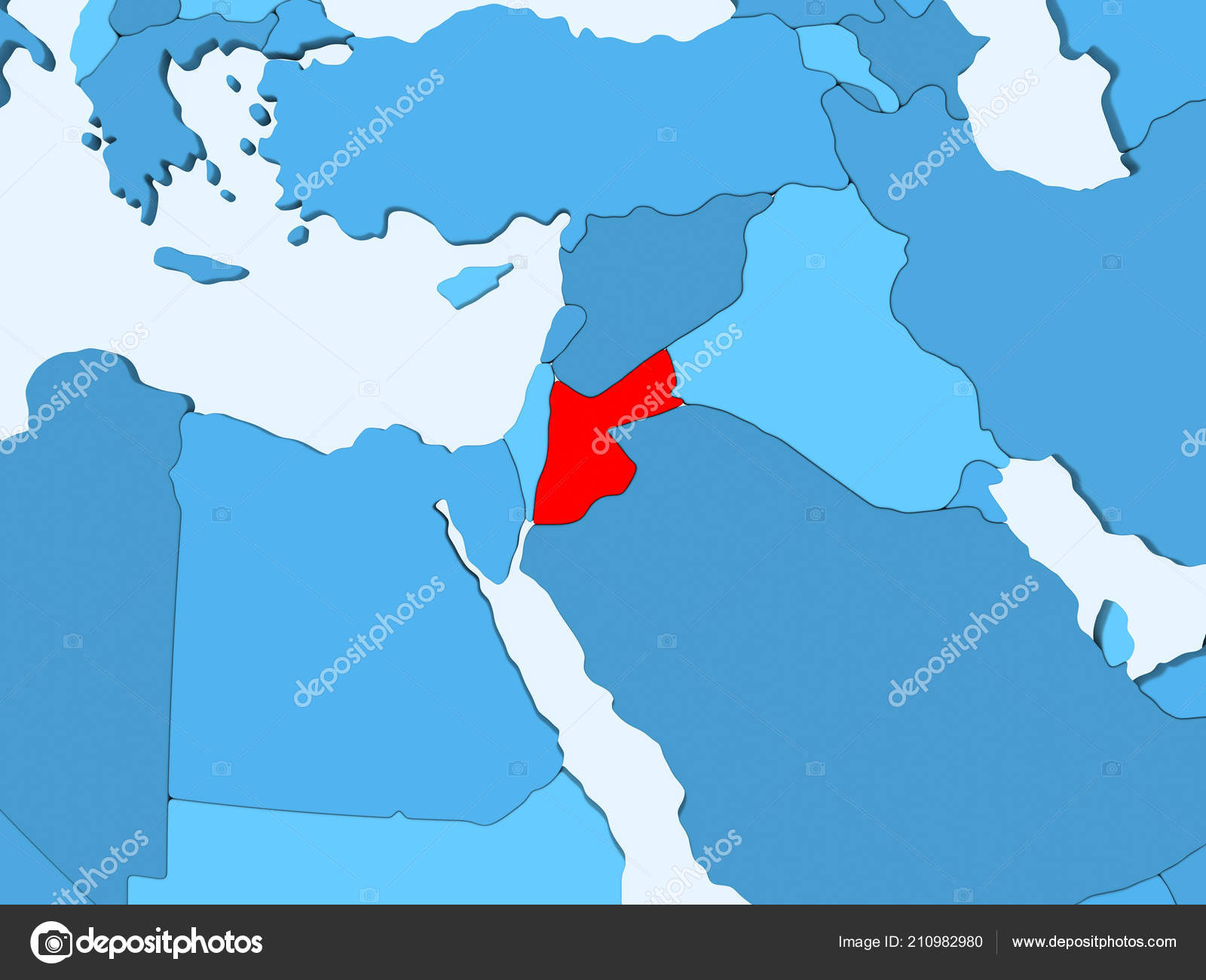 Political Map Of Jordan.Jordan Red Blue Political Map Transparent Oceans Illustration
