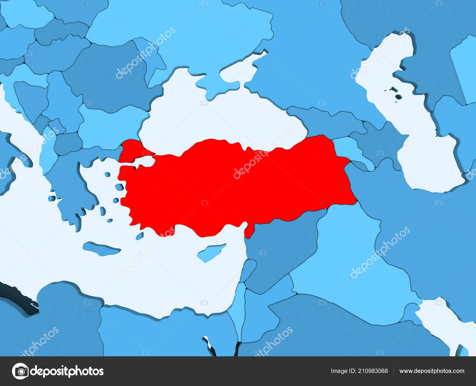 Turkey Red Blue Political Map Transparent Oceans Illustration