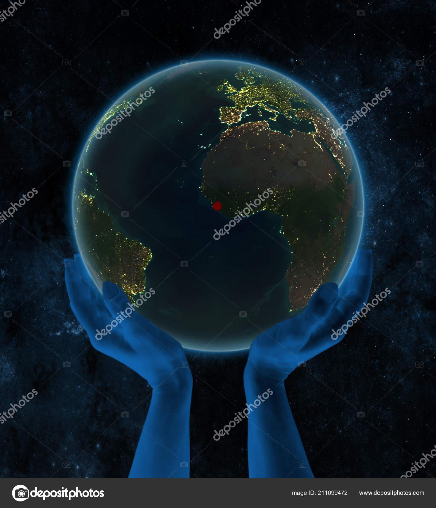 Sierra Leone Night Earth Hands Space Illustration — Stock