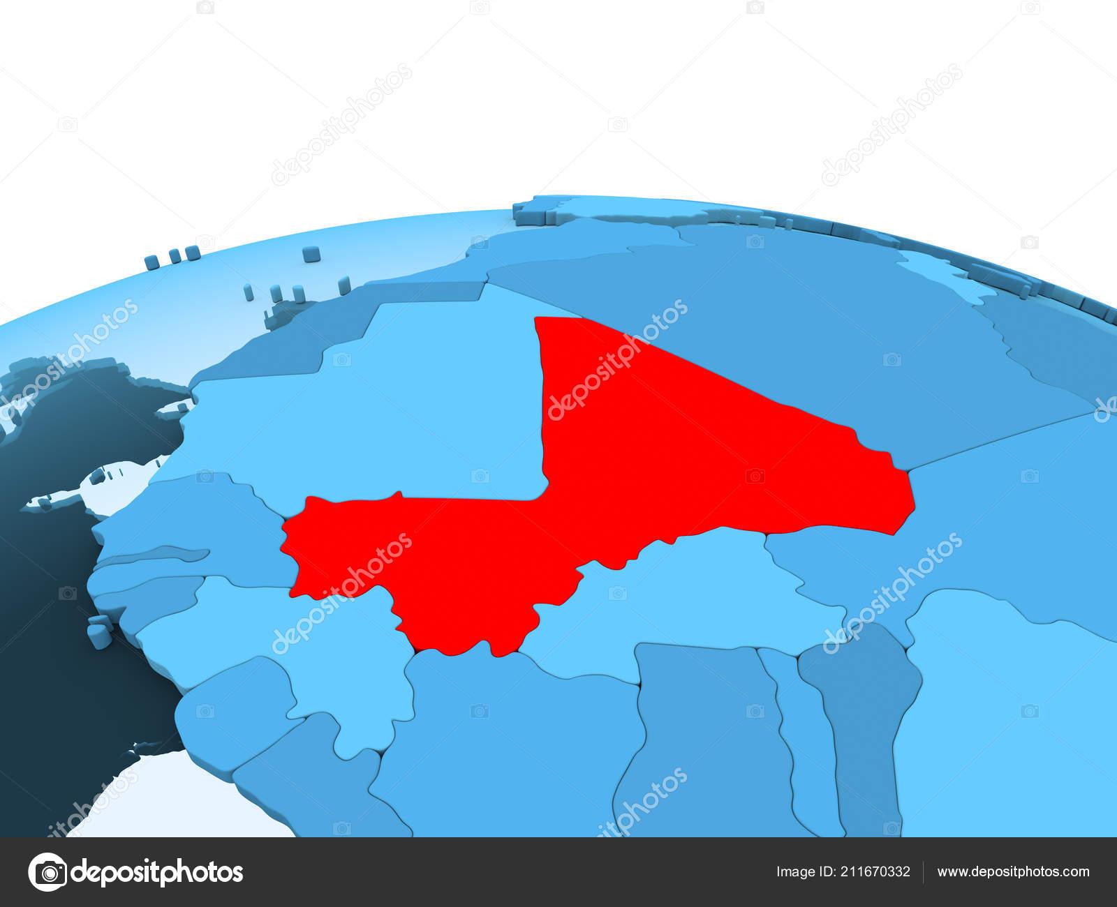 Map Mali Red Blue Political Globe Transparent Oceans Illustration ...