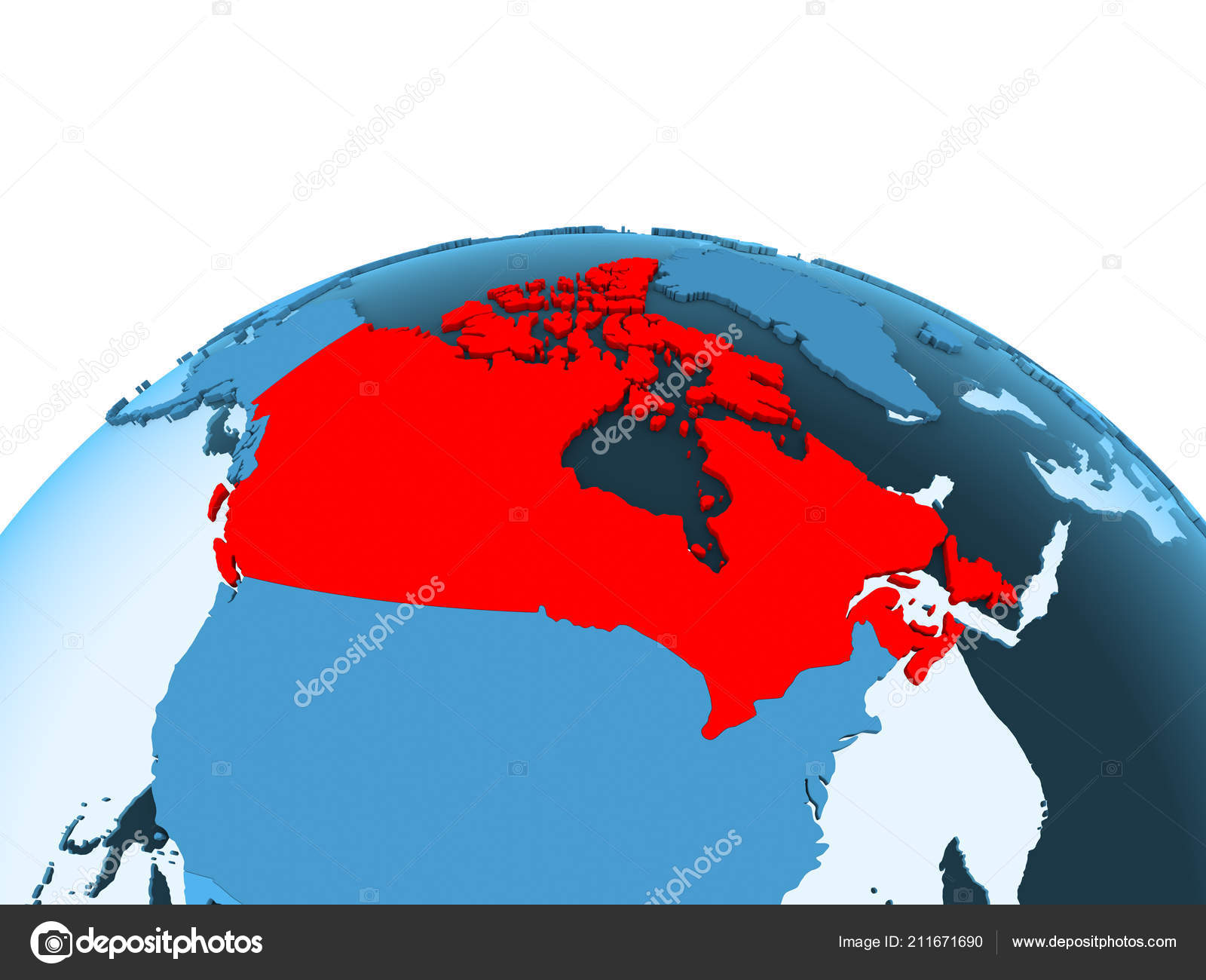 Map Of Canada On Globe.Map Canada Red Blue Political Globe Transparent Oceans Illustration