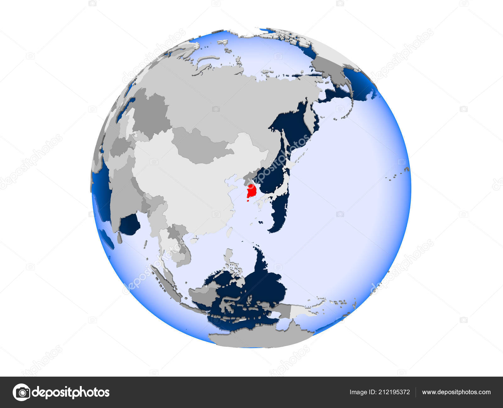 South korea highlighted red political globe transparent oceans south korea highlighted red political globe transparent oceans illustration isolated stock photo gumiabroncs Choice Image