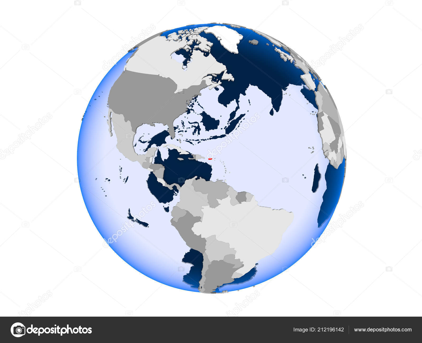 Puerto Rico Highlighted Red Political Globe Transparent Oceans