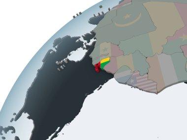 Guinea-Bissau on political globe with embedded flag. 3D illustration.