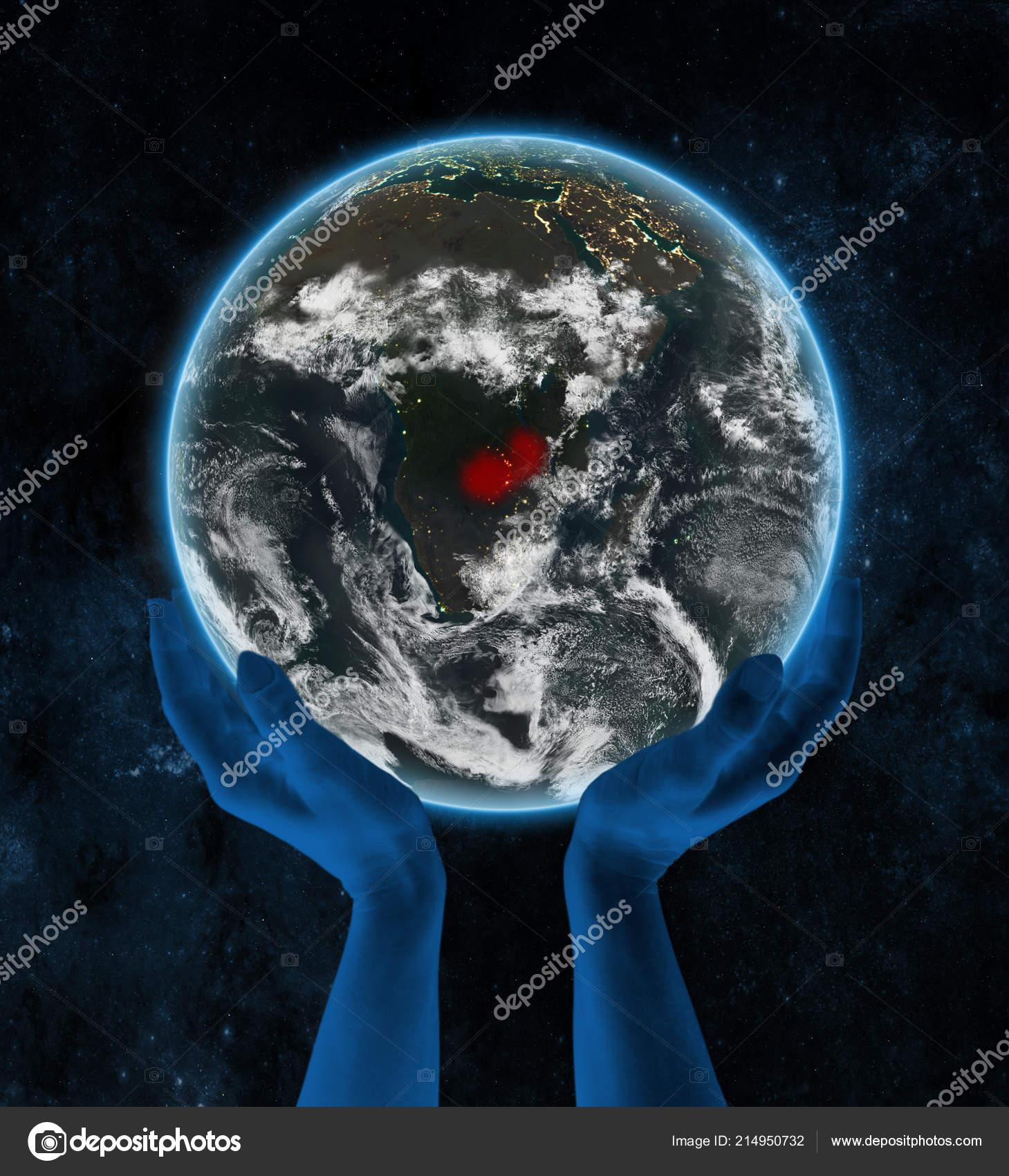 Sambia Auf Der Erde Der Nacht Händen Raum Illustration Stockfoto
