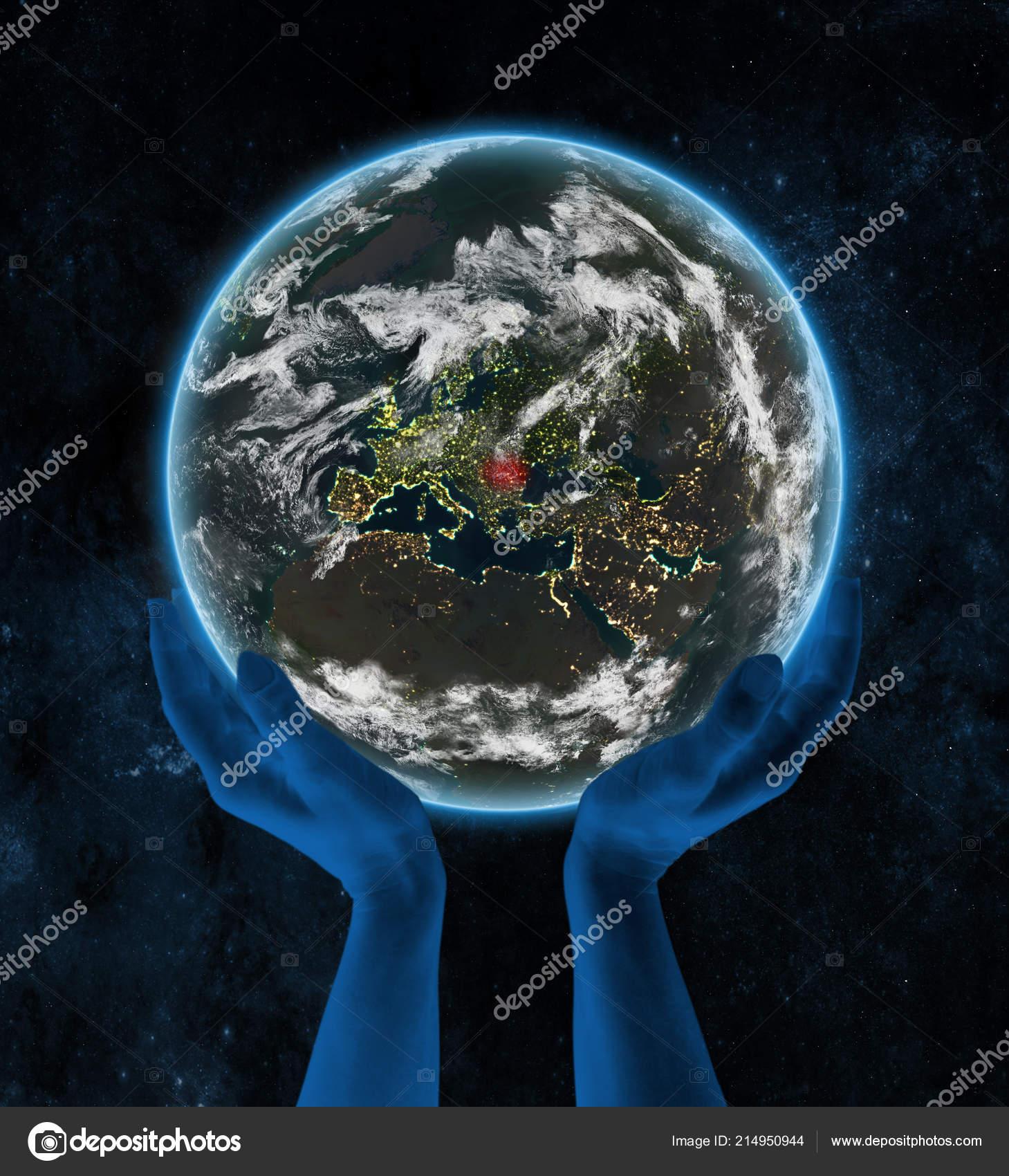 Rumänien Auf Der Erde Der Nacht Händen Raum Illustration Stockfoto