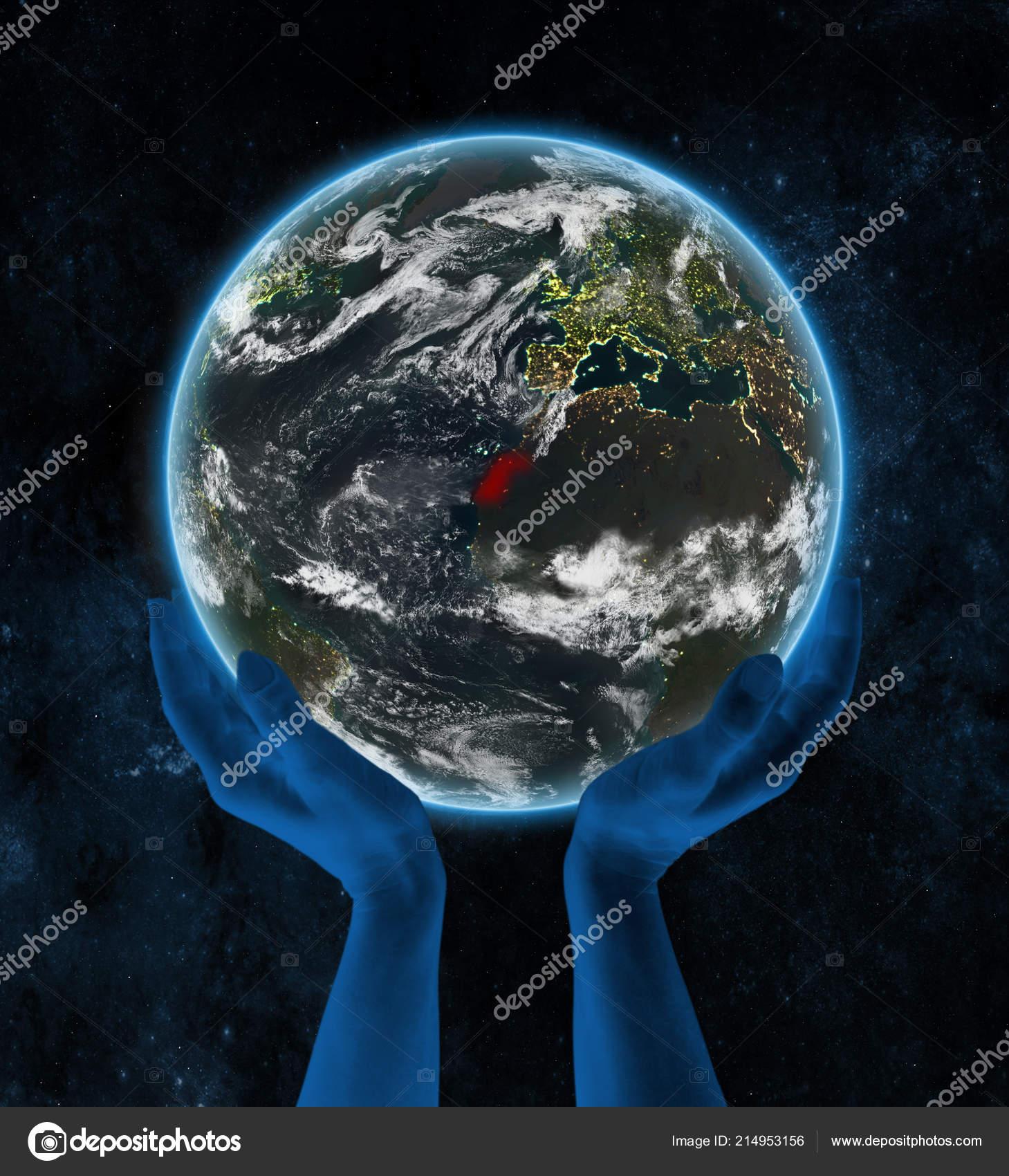 Westsahara Auf Der Erde Der Nacht Händen Raum Illustration