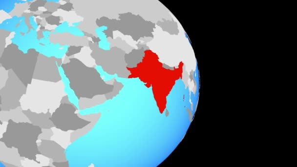 Closing in on British India on simple political globe. 3D illustration.