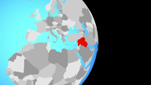 Closing in on Islamic State on simple political globe. 3D illustration.