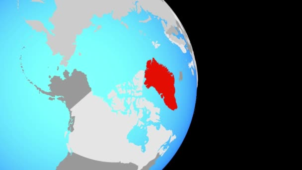 Closing in on Greenland on simple political globe. 3D illustration.