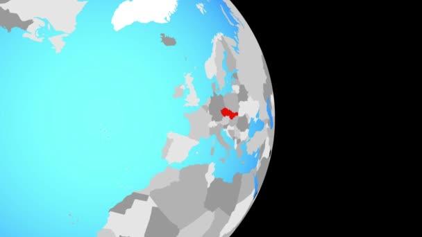 Uzavření v na Československo na jednoduché politické globe. 3D obrázek