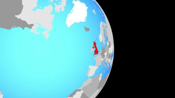 Zaznamenávám Velká Británie na jednoduché politické globe. 3D obrázek.