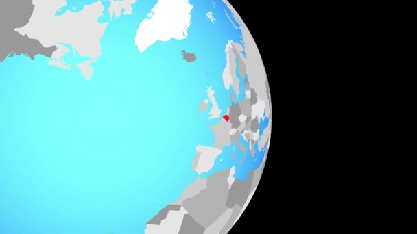 Closing in on Belgium on simple political globe. 3D illustration.