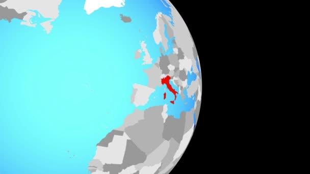 Zavírat v Itálii na jednoduché politické globe. 3D obrázek.