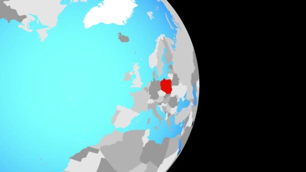 Closing in on Poland on simple political globe. 3D illustration.